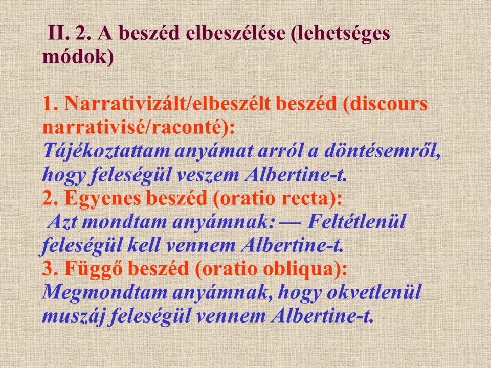 II. 2. A beszéd elbeszélése (lehetséges módok) 1