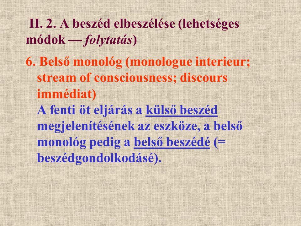 II. 2. A beszéd elbeszélése (lehetséges módok — folytatás)