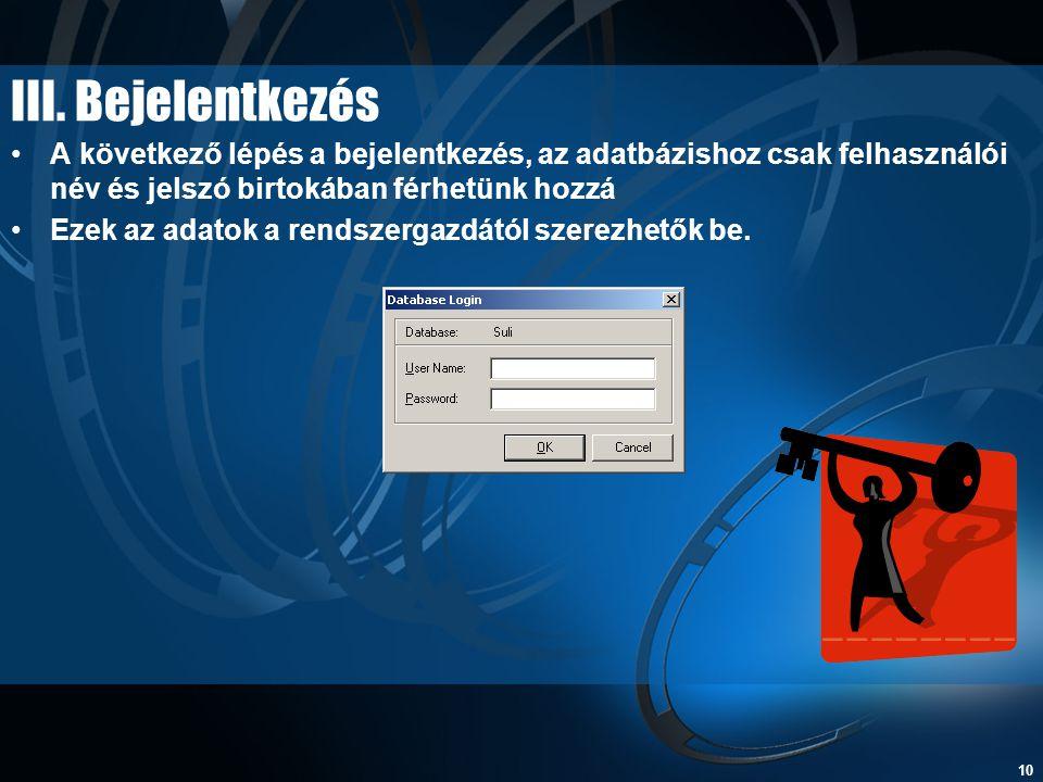 III. Bejelentkezés A következő lépés a bejelentkezés, az adatbázishoz csak felhasználói név és jelszó birtokában férhetünk hozzá.