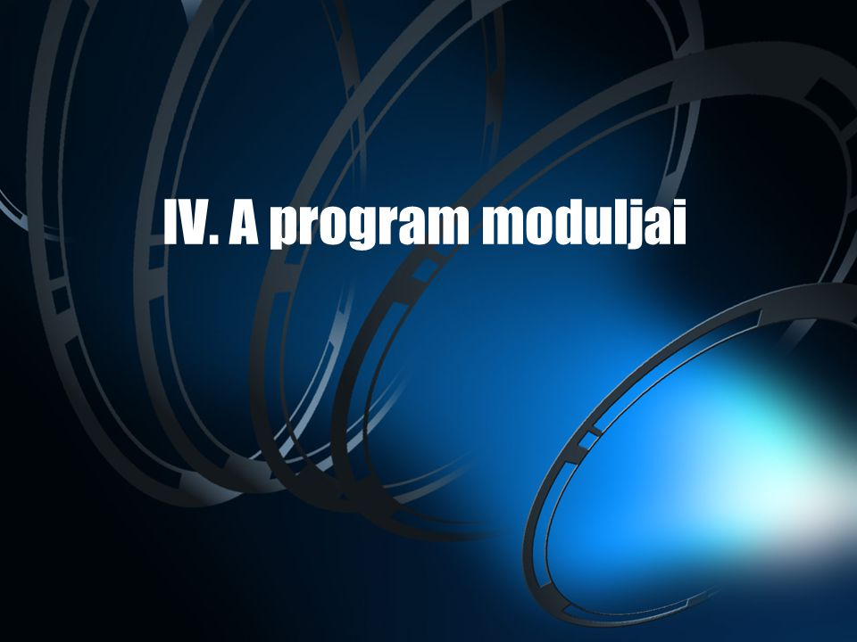 IV. A program moduljai