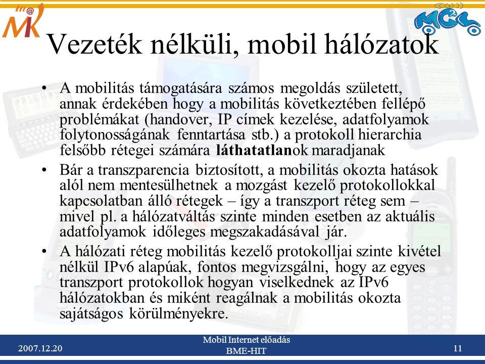 Vezeték nélküli, mobil hálózatok