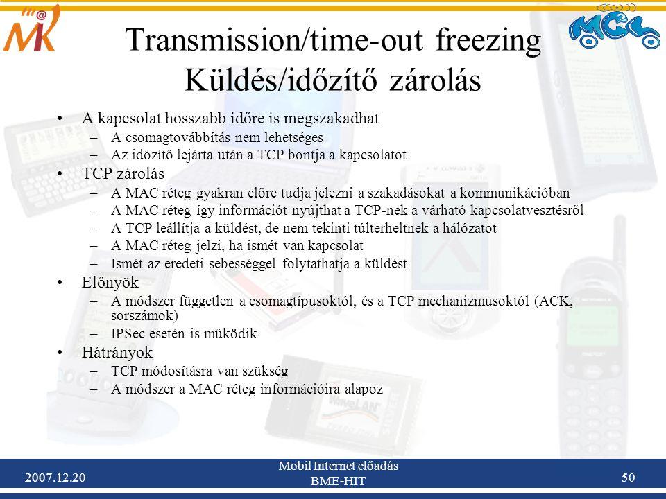 Transmission/time-out freezing Küldés/időzítő zárolás