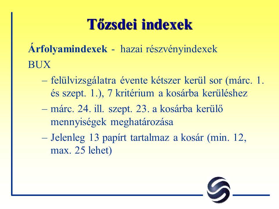 Tőzsdei indexek Árfolyamindexek - hazai részvényindexek BUX