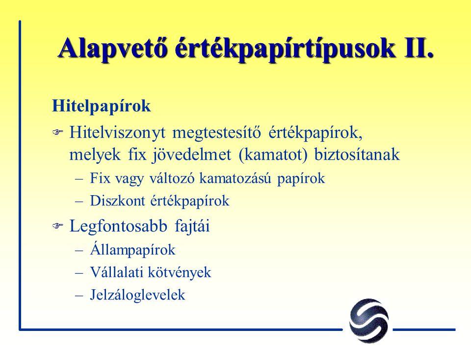 Alapvető értékpapírtípusok II.