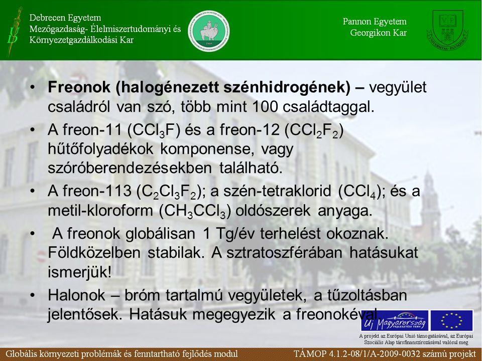 Freonok (halogénezett szénhidrogének) – vegyület családról van szó, több mint 100 családtaggal.