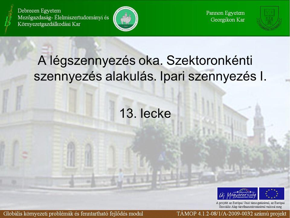 A légszennyezés oka. Szektoronkénti szennyezés alakulás
