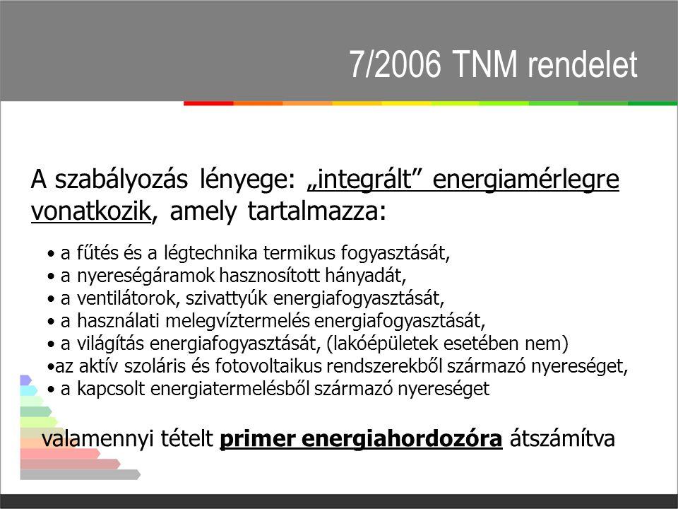 """7/2006 TNM rendelet A szabályozás lényege: """"integrált energiamérlegre vonatkozik, amely tartalmazza:"""