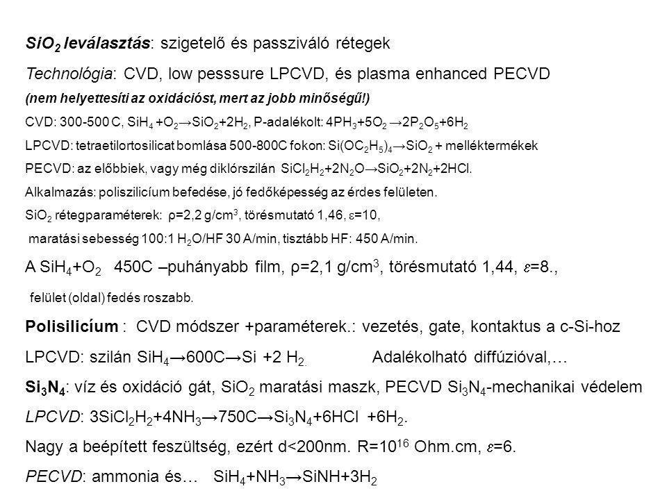SiO2 leválasztás: szigetelő és passziváló rétegek