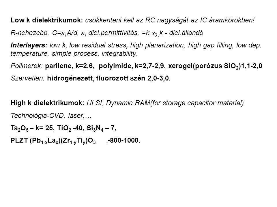 Low k dielektrikumok: csökkenteni kell az RC nagyságát az IC áramkörökben!