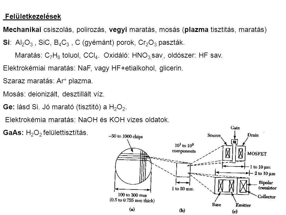 Felületkezelések Mechanikai csiszolás, polirozás, vegyi maratás, mosás (plazma tisztitás, maratás)