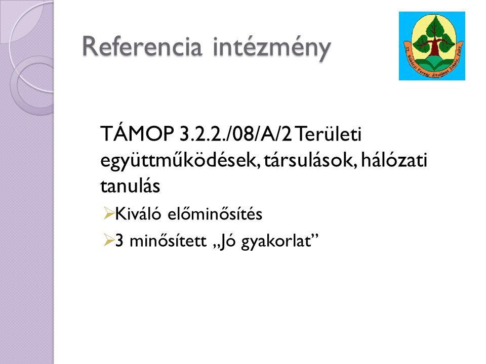 Referencia intézmény TÁMOP 3.2.2./08/A/2 Területi együttműködések, társulások, hálózati tanulás. Kiváló előminősítés.