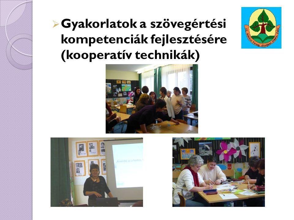 Gyakorlatok a szövegértési kompetenciák fejlesztésére (kooperatív technikák)