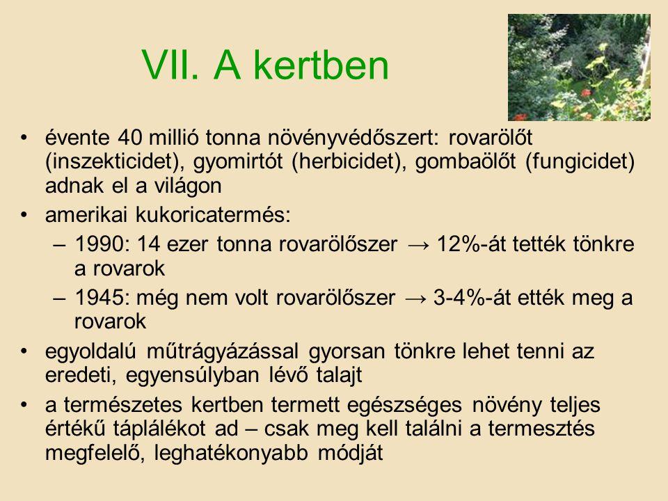 VII. A kertben évente 40 millió tonna növényvédőszert: rovarölőt (inszekticidet), gyomirtót (herbicidet), gombaölőt (fungicidet) adnak el a világon.