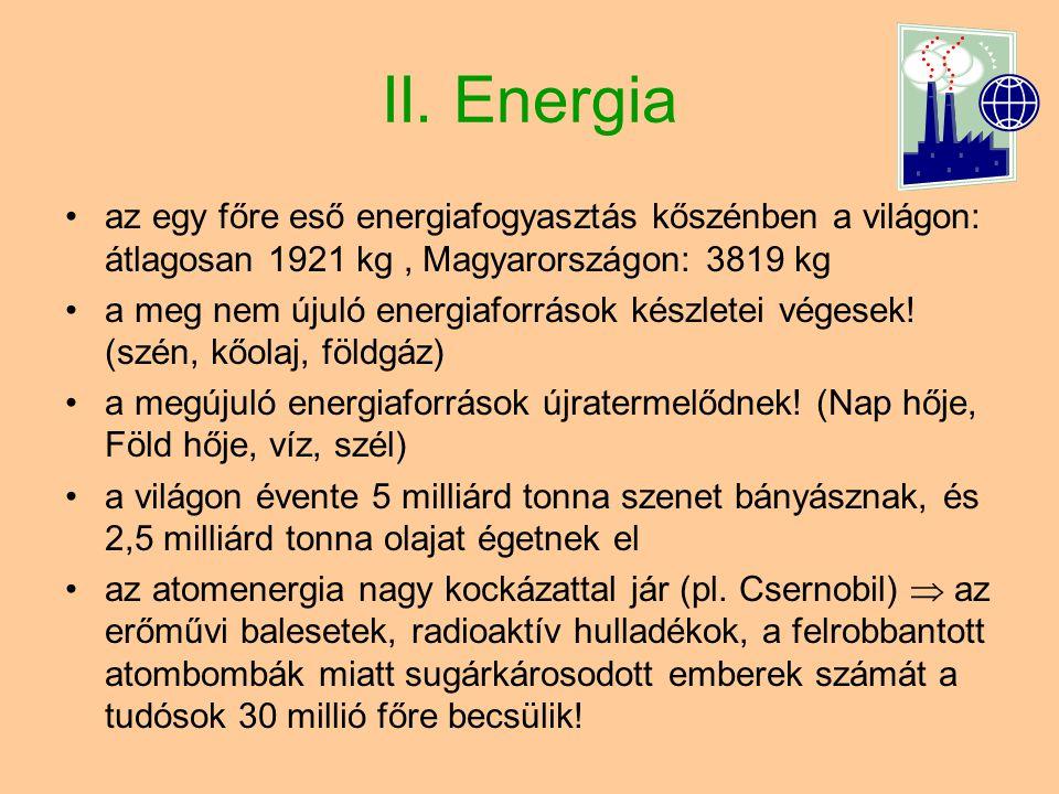 II. Energia az egy főre eső energiafogyasztás kőszénben a világon: átlagosan 1921 kg , Magyarországon: 3819 kg.
