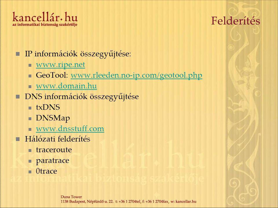 Felderítés IP információk összegyűjtése: www.ripe.net