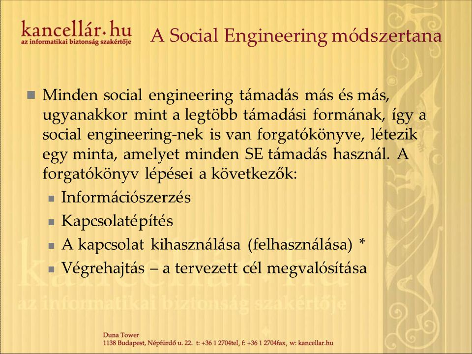 A Social Engineering módszertana