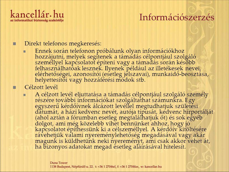Információszerzés Direkt telefonos megkeresés:
