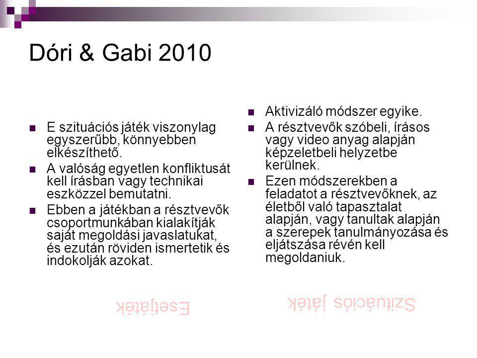 Dóri & Gabi 2010 Szituációs játék Esetjáték