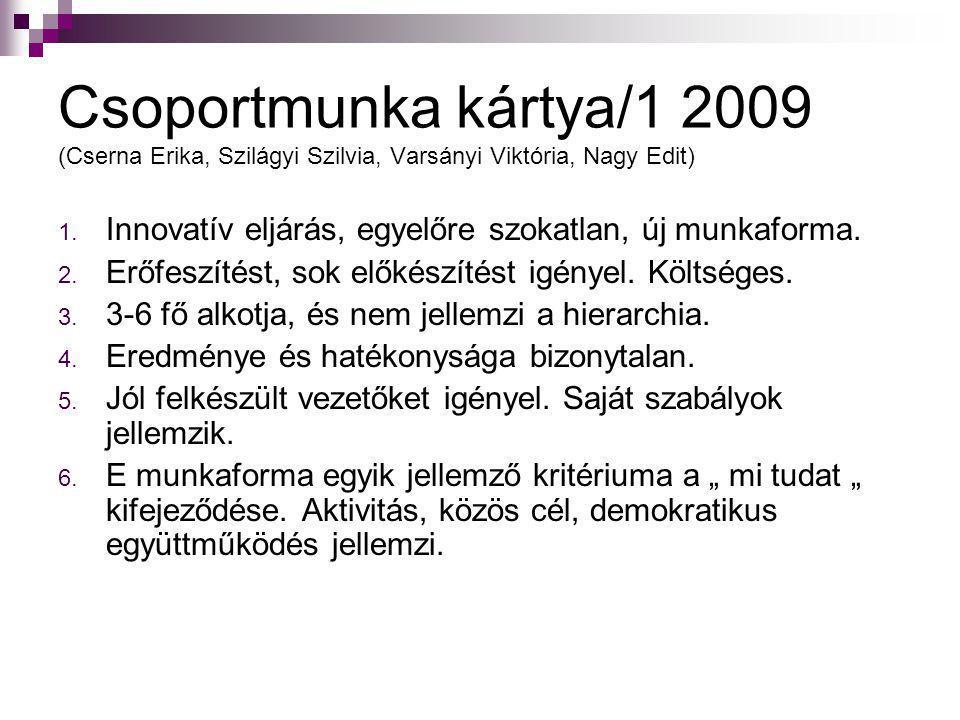 Csoportmunka kártya/1 2009 (Cserna Erika, Szilágyi Szilvia, Varsányi Viktória, Nagy Edit)