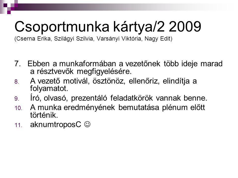 Csoportmunka kártya/2 2009 (Cserna Erika, Szilágyi Szilvia, Varsányi Viktória, Nagy Edit)