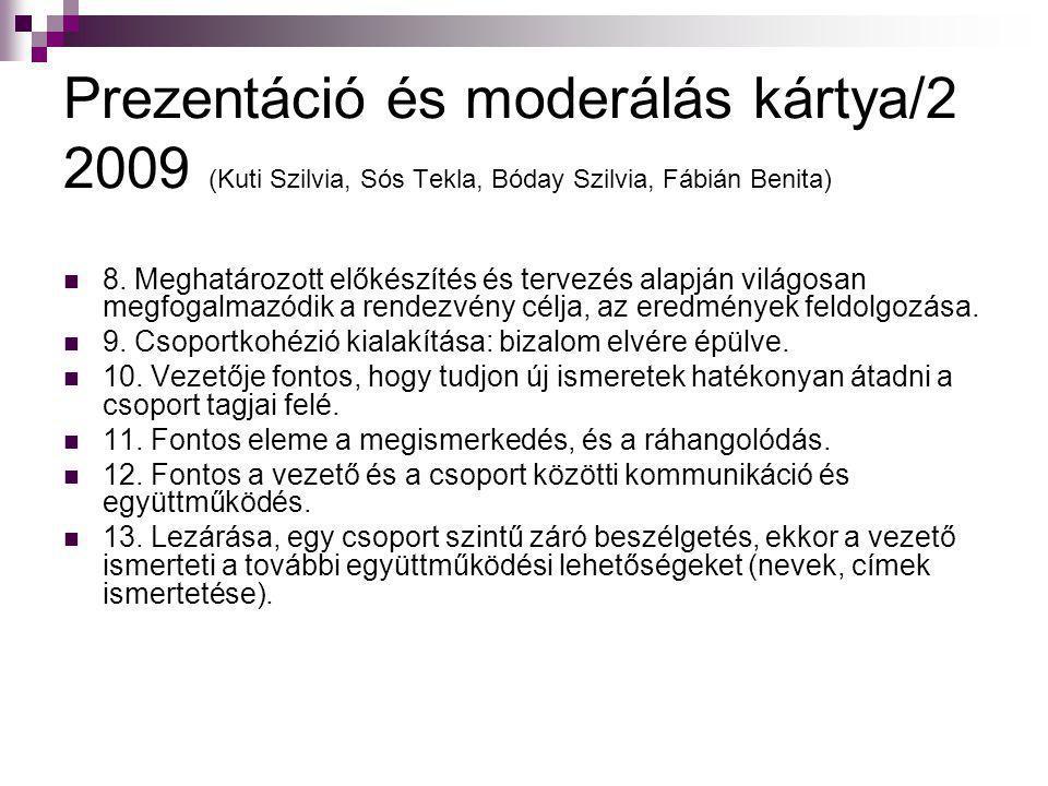 Prezentáció és moderálás kártya/2 2009 (Kuti Szilvia, Sós Tekla, Bóday Szilvia, Fábián Benita)