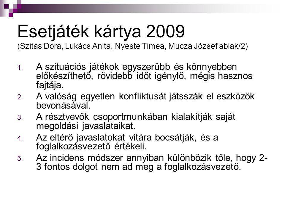 Esetjáték kártya 2009 (Szitás Dóra, Lukács Anita, Nyeste Tímea, Mucza József ablak/2)