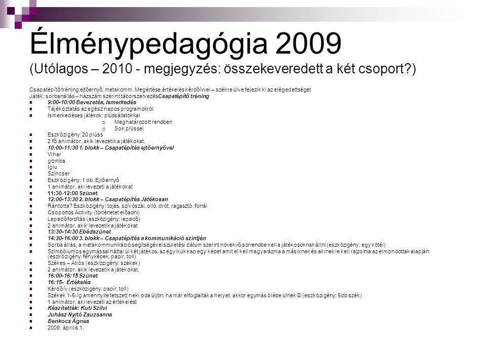 Élménypedagógia 2009 (Utólagos – 2010 - megjegyzés: összekeveredett a két csoport )