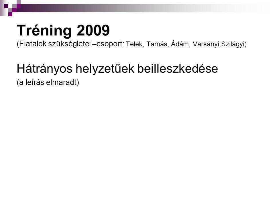 Tréning 2009 (Fiatalok szükségletei –csoport: Telek, Tamás, Ádám, Varsányi,Szilágyi)