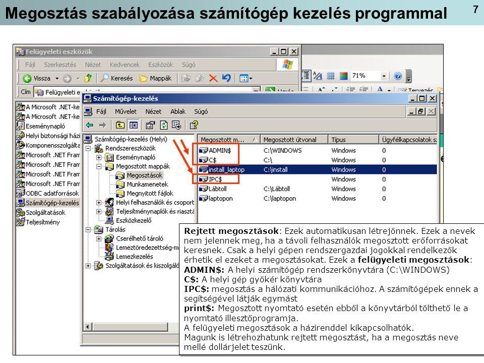 Megosztás szabályozása számítógép kezelés programmal