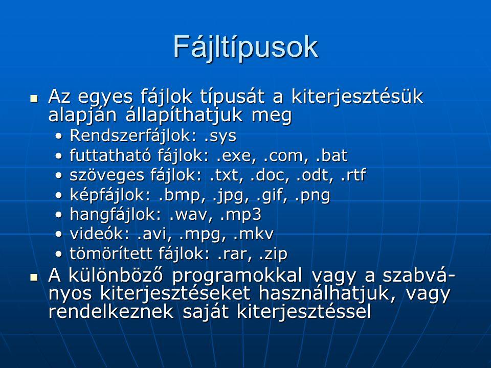 Fájltípusok Az egyes fájlok típusát a kiterjesztésük alapján állapíthatjuk meg. Rendszerfájlok: .sys.