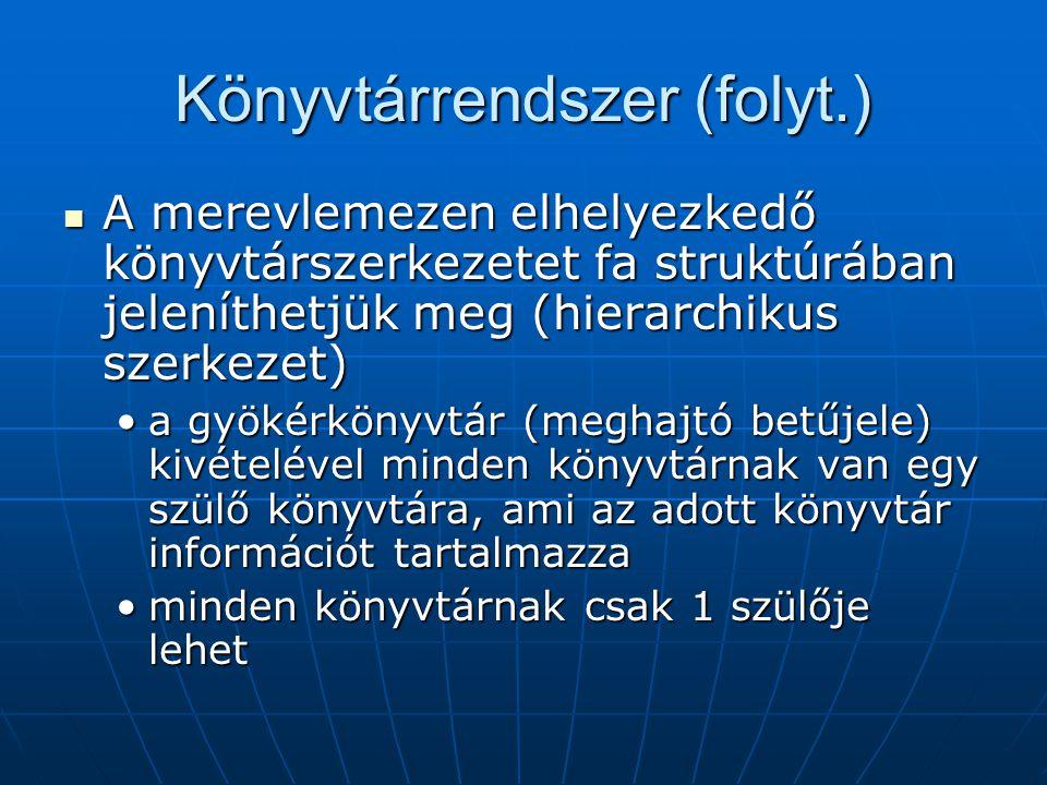 Könyvtárrendszer (folyt.)