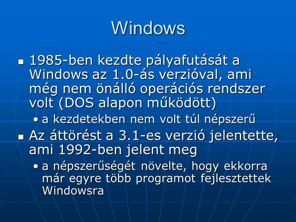 Windows 1985-ben kezdte pályafutását a Windows az 1.0-ás verzióval, ami még nem önálló operációs rendszer volt (DOS alapon működött)