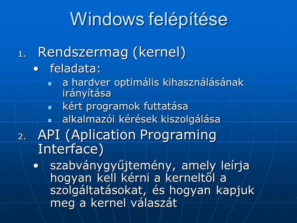 Windows felépítése Rendszermag (kernel)