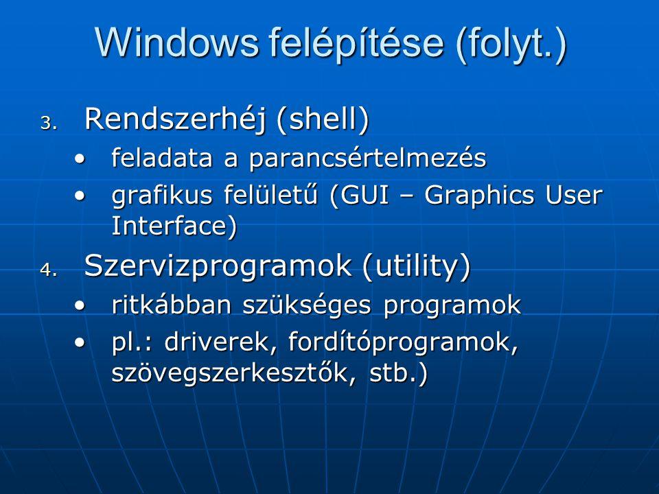 Windows felépítése (folyt.)