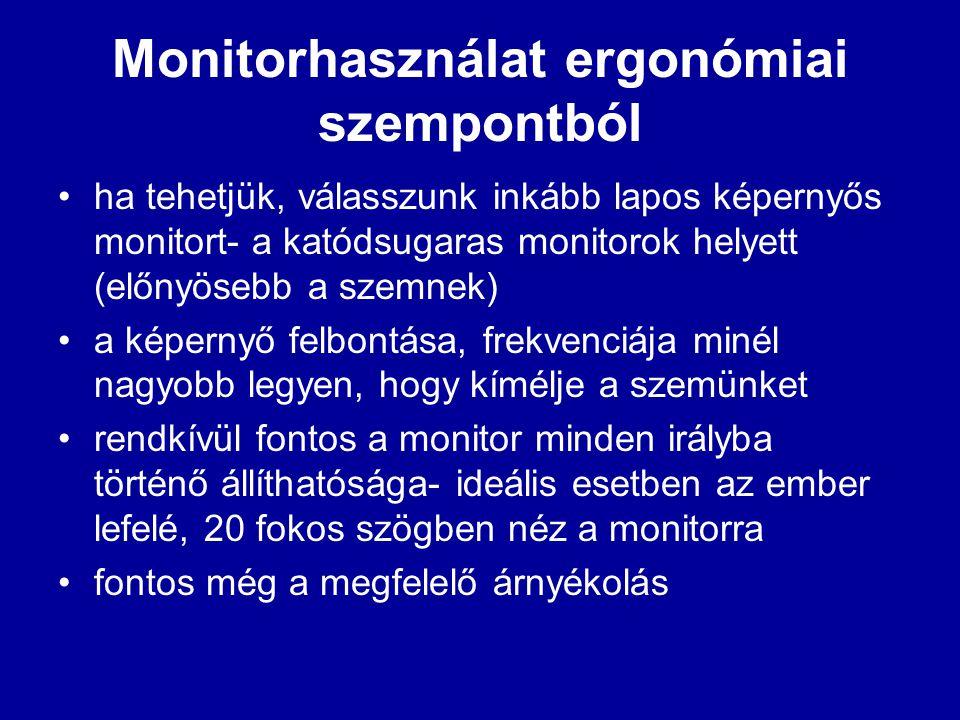 Monitorhasználat ergonómiai szempontból