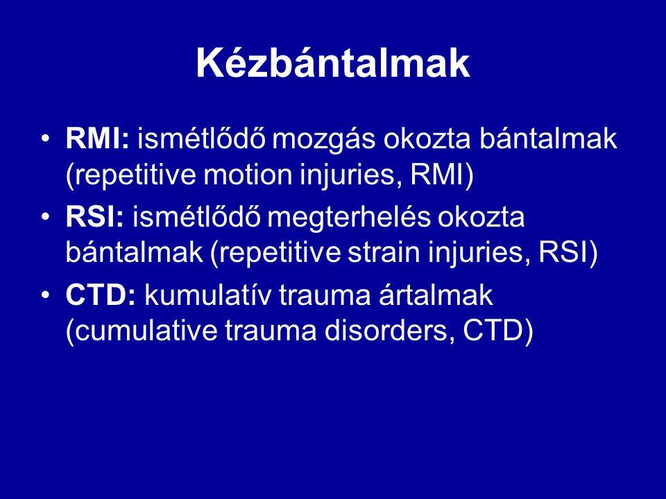 Kézbántalmak RMI: ismétlődő mozgás okozta bántalmak (repetitive motion injuries, RMI)