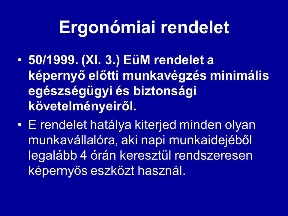 Ergonómiai rendelet 50/1999. (XI. 3.) EüM rendelet a képernyő előtti munkavégzés minimális egészségügyi és biztonsági követelményeiről.