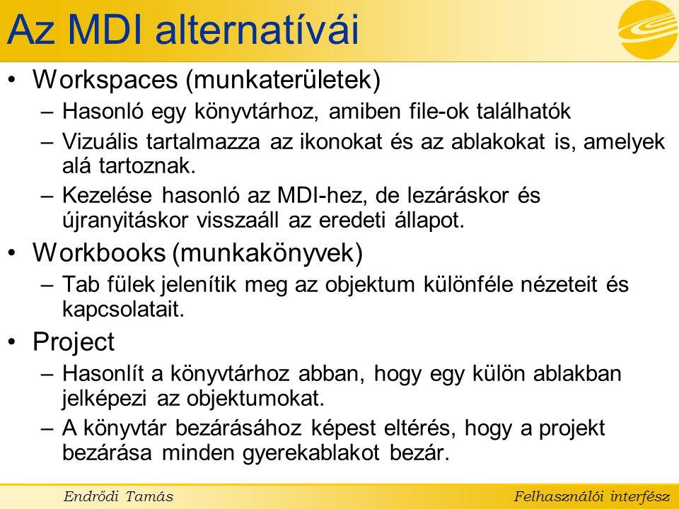 Az MDI alternatívái Workspaces (munkaterületek)