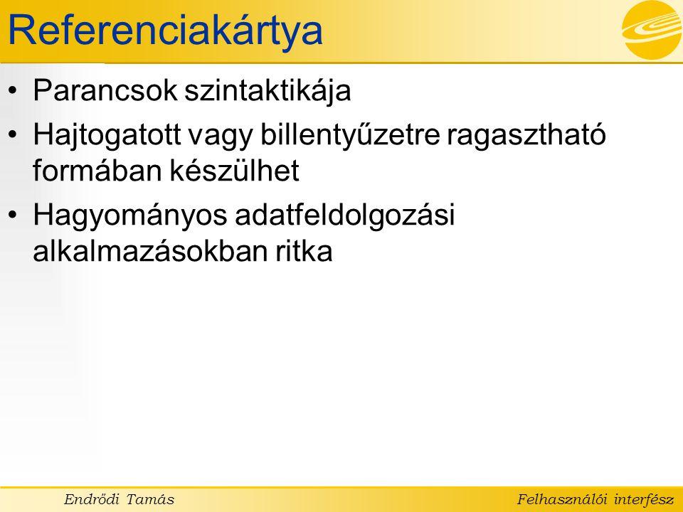 Referenciakártya Parancsok szintaktikája