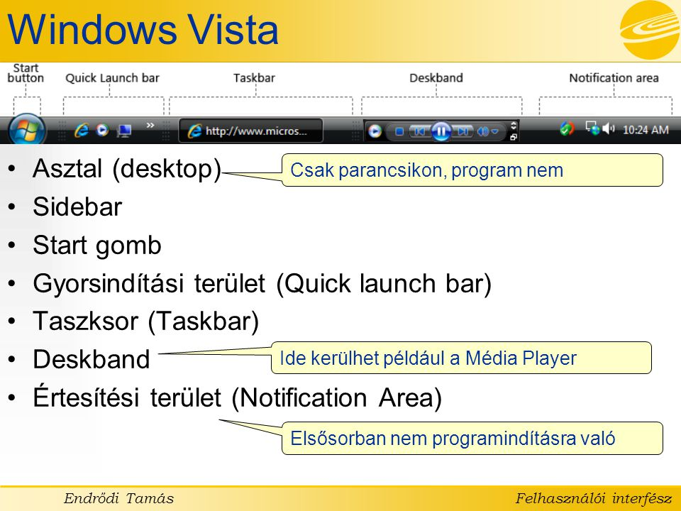 Windows Vista Asztal (desktop) Sidebar Start gomb