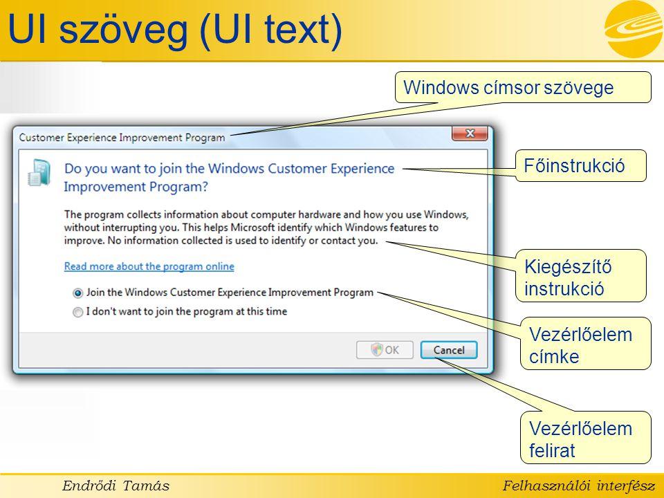 UI szöveg (UI text) Windows címsor szövege Főinstrukció