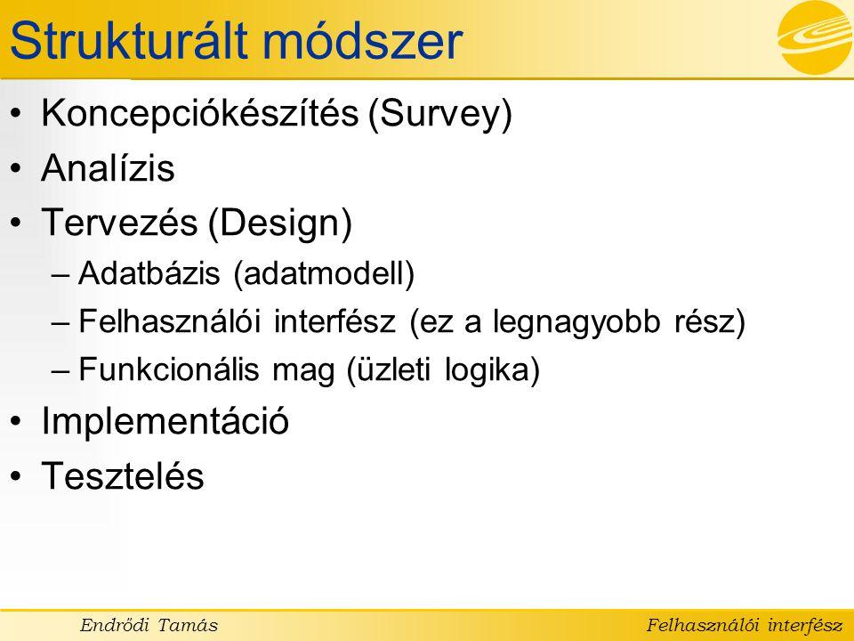 Strukturált módszer Koncepciókészítés (Survey) Analízis