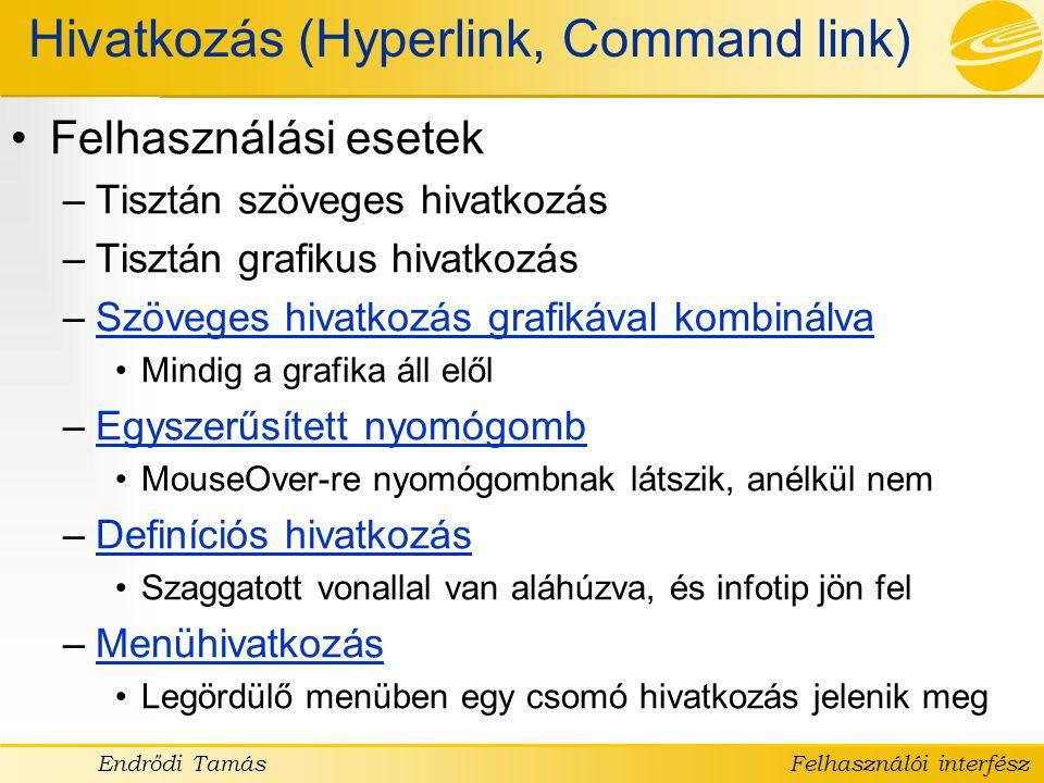 Hivatkozás (Hyperlink, Command link)