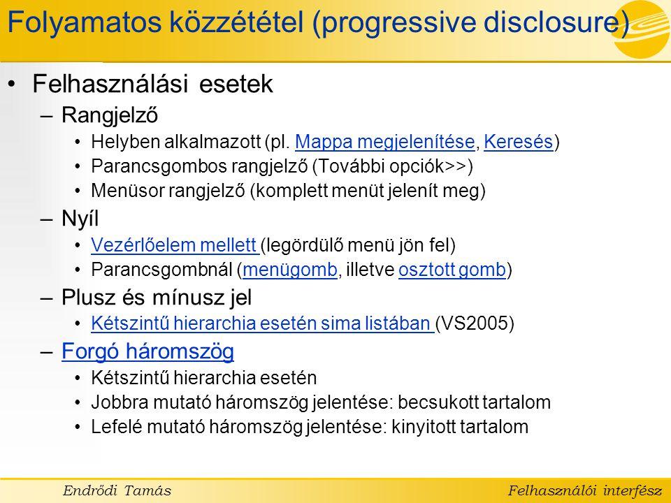 Folyamatos közzététel (progressive disclosure)