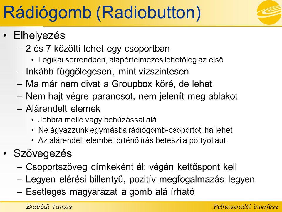 Rádiógomb (Radiobutton)