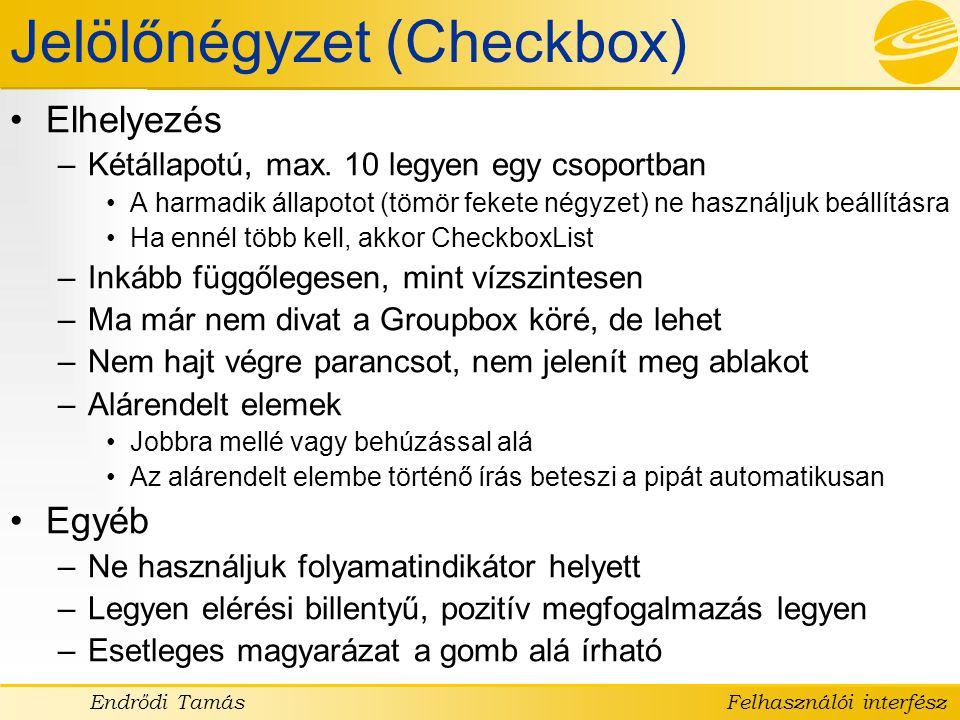 Jelölőnégyzet (Checkbox)