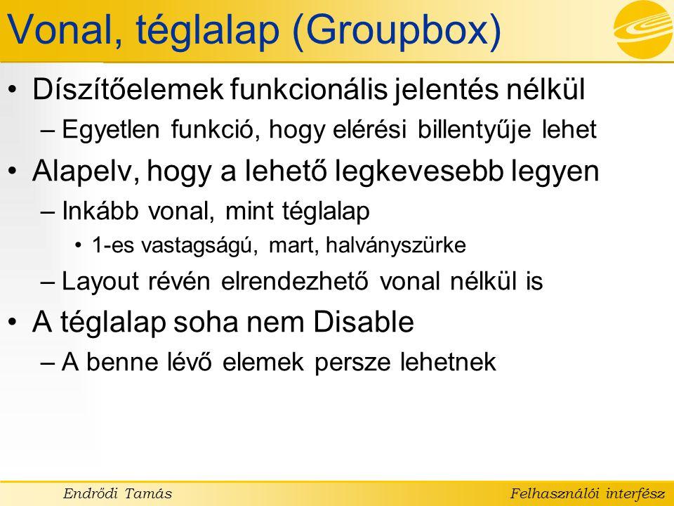 Vonal, téglalap (Groupbox)