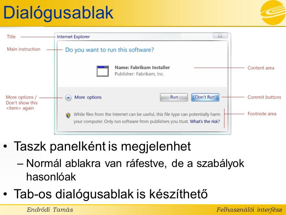 Dialógusablak Taszk panelként is megjelenhet