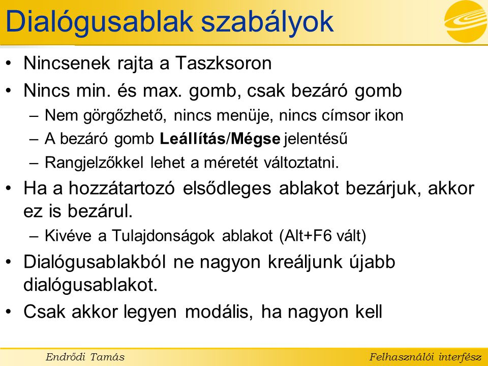 Dialógusablak szabályok