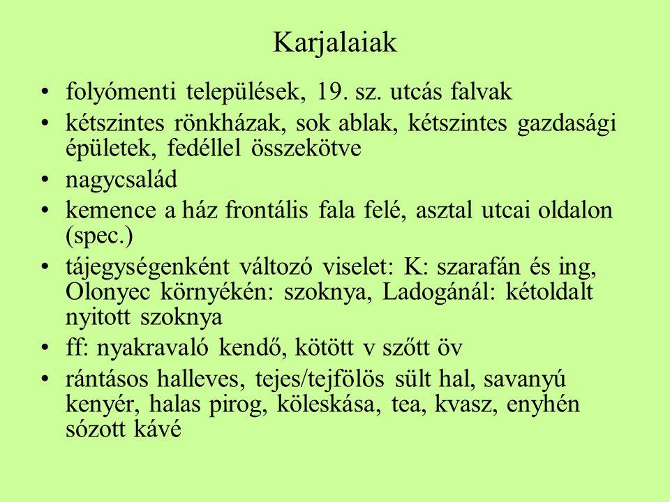 Karjalaiak folyómenti települések, 19. sz. utcás falvak